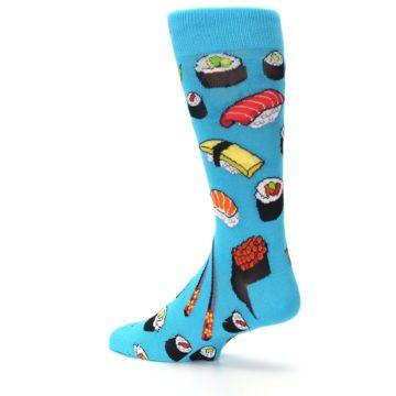 Image of Bright Blue Sushi Food Men's Dress Socks (side-2-back-14)