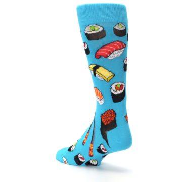 Image of Bright Blue Sushi Food Men's Dress Socks (side-2-back-15)
