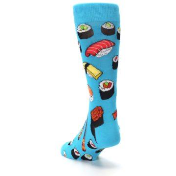 Image of Bright Blue Sushi Food Men's Dress Socks (side-2-back-16)