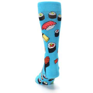 Image of Bright Blue Sushi Food Men's Dress Socks (back-17)