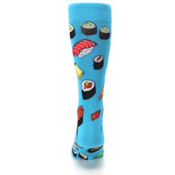 Image of Bright Blue Sushi Food Men's Dress Socks (back-18)