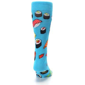 Image of Bright Blue Sushi Food Men's Dress Socks (back-19)