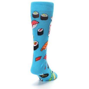 Image of Bright Blue Sushi Food Men's Dress Socks (side-1-back-20)