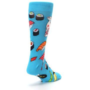 Image of Bright Blue Sushi Food Men's Dress Socks (side-1-back-21)