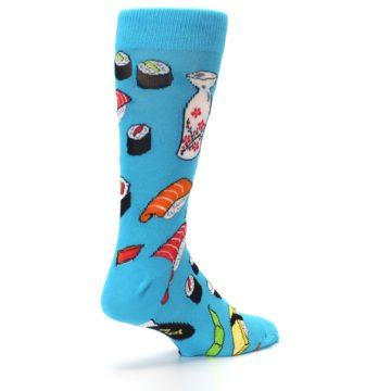 Image of Bright Blue Sushi Food Men's Dress Socks (side-1-back-22)
