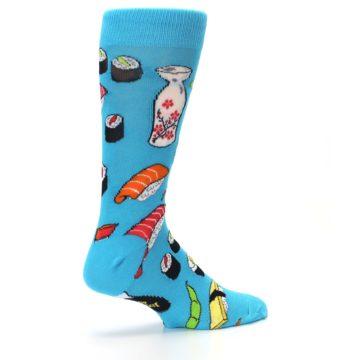 Image of Bright Blue Sushi Food Men's Dress Socks (side-1-23)