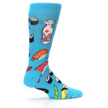 Image of Bright Blue Sushi Food Men's Dress Socks (side-1-24)
