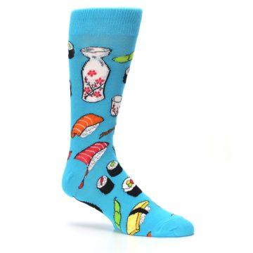 Image of Bright Blue Sushi Food Men's Dress Socks (side-1-26)