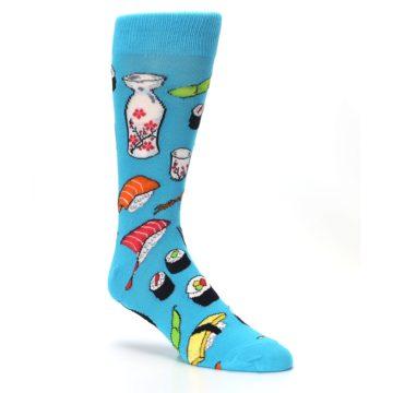 Image of Bright Blue Sushi Food Men's Dress Socks (side-1-27)