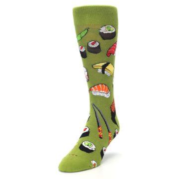 Image of Green Sushi Food Men's Dress Socks (side-2-front-07)