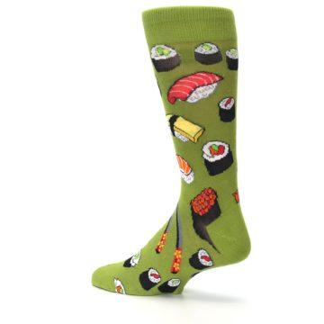Image of Green Sushi Food Men's Dress Socks (side-2-back-14)