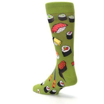 Image of Green Sushi Food Men's Dress Socks (side-2-back-15)