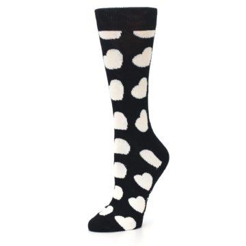 Image of Black and White Hearts Women's Dress Socks (side-2-09)