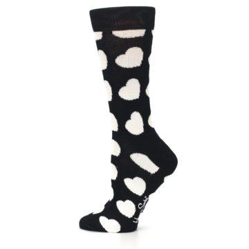 Image of Black and White Hearts Women's Dress Socks (side-2-12)