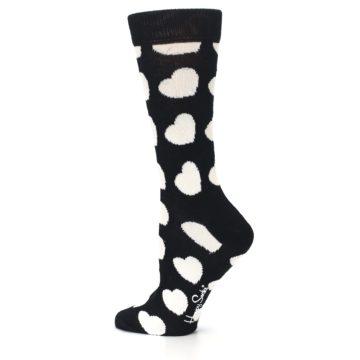 Image of Black and White Hearts Women's Dress Socks (side-2-13)