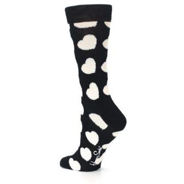 Image of Black and White Hearts Women's Dress Socks (side-2-back-14)