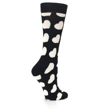 Image of Black and White Hearts Women's Dress Socks (side-1-23)