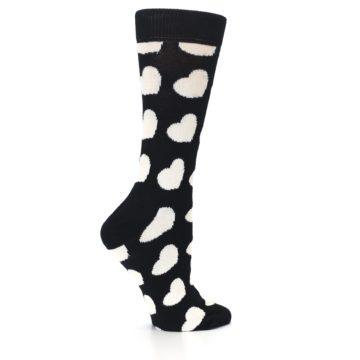 Image of Black and White Hearts Women's Dress Socks (side-1-24)