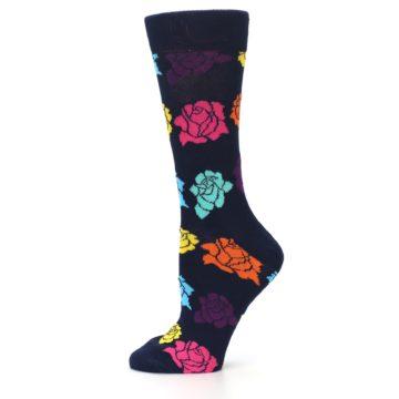 Image of Navy Multi Color Roses Women's Dress Socks (side-2-11)