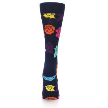 Image of Navy Multi Color Roses Women's Dress Socks (back-19)
