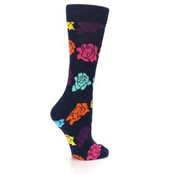 Image of Navy Multi Color Roses Women's Dress Socks (side-1-23)