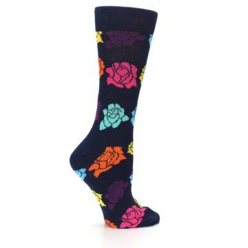 Image of Navy Multi Color Roses Women's Dress Socks (side-1-24)