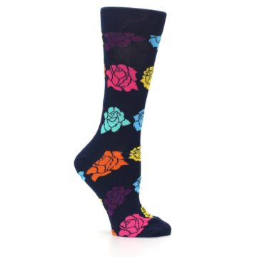 Image of Navy Multi Color Roses Women's Dress Socks (side-1-25)