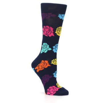 Image of Navy Multi Color Roses Women's Dress Socks (side-1-26)