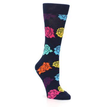 Image of Navy Multi Color Roses Women's Dress Socks (side-1-27)