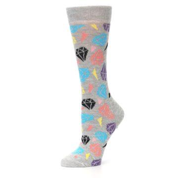 Image of Grey Coral Blue Diamonds Women's Dress Socks (side-2-10)