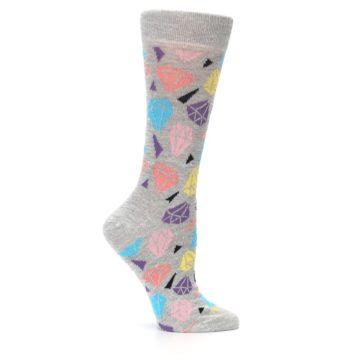 Image of Grey Coral Blue Diamonds Women's Dress Socks (side-1-25)