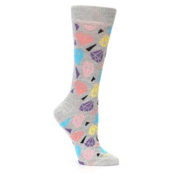 Image of Grey Coral Blue Diamonds Women's Dress Socks (side-1-26)