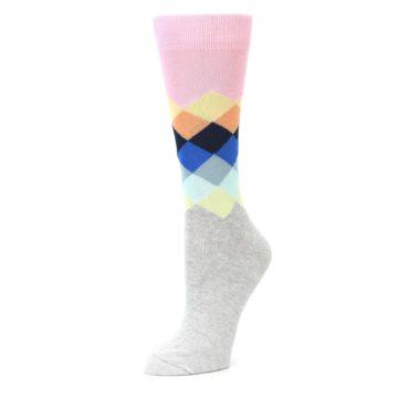 Image of Grey Pastel Pink Faded Diamond Women's Dress Socks (side-2-09)