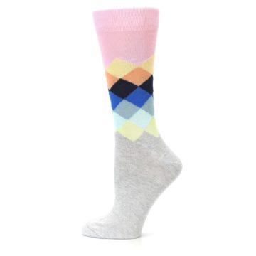 Image of Grey Pastel Pink Faded Diamond Women's Dress Socks (side-2-12)