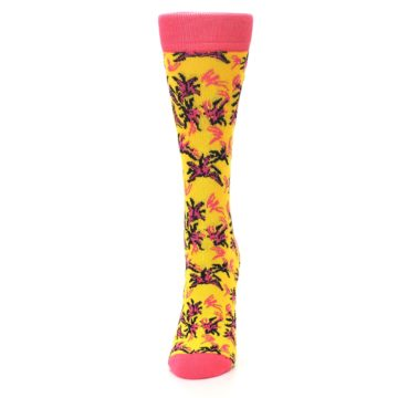 Image of Pink Yellow Tropical Grasses Women's Dress Socks (side-2-front-06)
