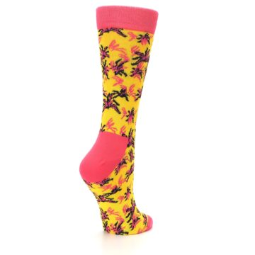 Image of Pink Yellow Tropical Grasses Women's Dress Socks (side-1-back-22)