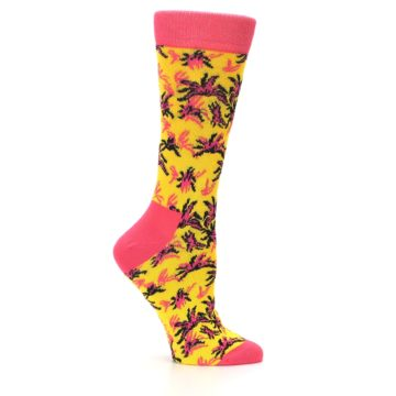 Image of Pink Yellow Tropical Grasses Women's Dress Socks (side-1-25)