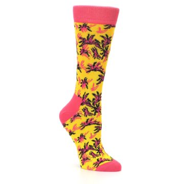 Image of Pink Yellow Tropical Grasses Women's Dress Socks (side-1-27)