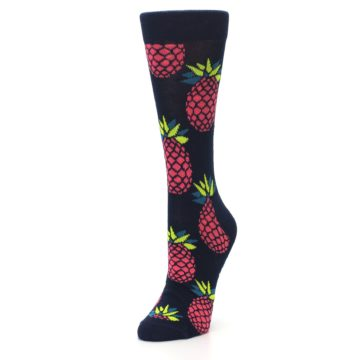 Image of Navy Pink Pineapples Women's Dress Socks (side-2-front-08)