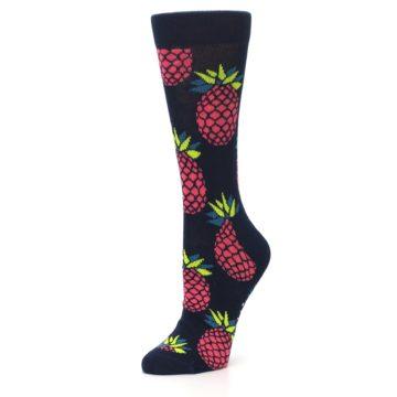 Image of Navy Pink Pineapples Women's Dress Socks (side-2-09)