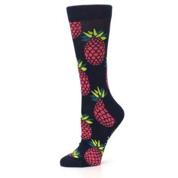 Image of Navy Pink Pineapples Women's Dress Socks (side-2-10)