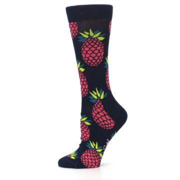 Image of Navy Pink Pineapples Women's Dress Socks (side-2-11)