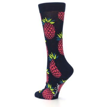 Image of Navy Pink Pineapples Women's Dress Socks (side-2-back-14)