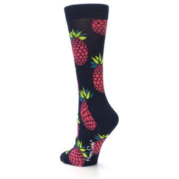 Image of Navy Pink Pineapples Women's Dress Socks (side-2-back-15)