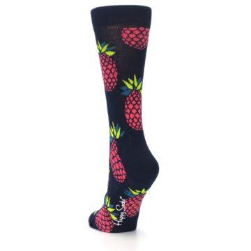Image of Navy Pink Pineapples Women's Dress Socks (side-2-back-16)