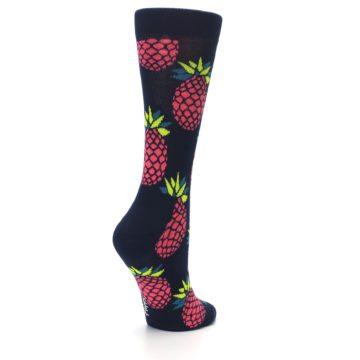 Image of Navy Pink Pineapples Women's Dress Socks (side-1-back-22)