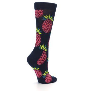 Image of Navy Pink Pineapples Women's Dress Socks (side-1-23)
