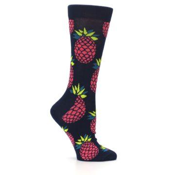 Image of Navy Pink Pineapples Women's Dress Socks (side-1-25)
