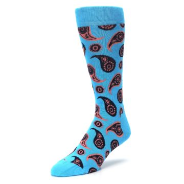Image of Turquoise Coral Paisley Men's Dress Socks (side-2-front-08)