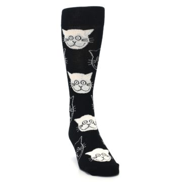 Image of Black and White Cats Men's Dress Socks (side-1-front-03)
